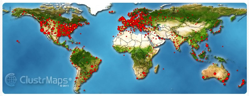 My Blog Cluster Map Visitors for 2012.