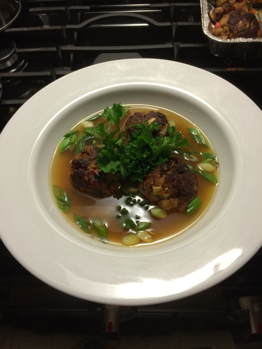 Miso Soup with Pork Meatballs.